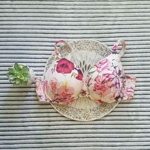 Cacique White Floral Boost Plunge Bra 42DD